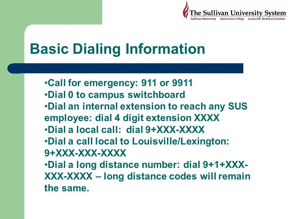 Basic Dialing Information