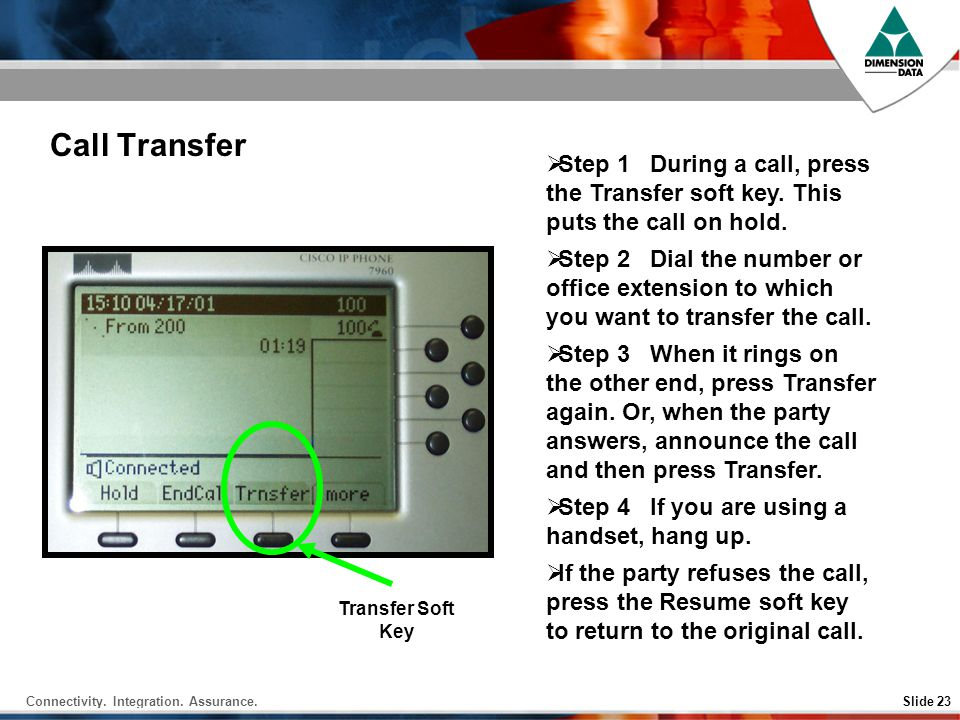 Call Transfer Step 1 During a call, press the Transfer soft key. This puts the call on hold.