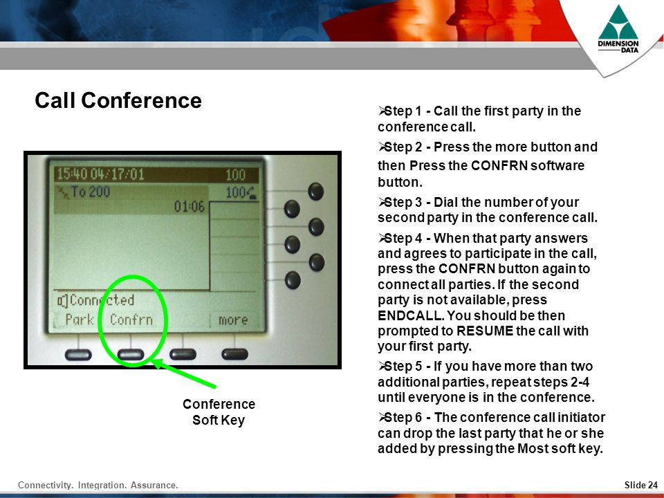 Call Conference Step 1 - Call the first party in the conference call.