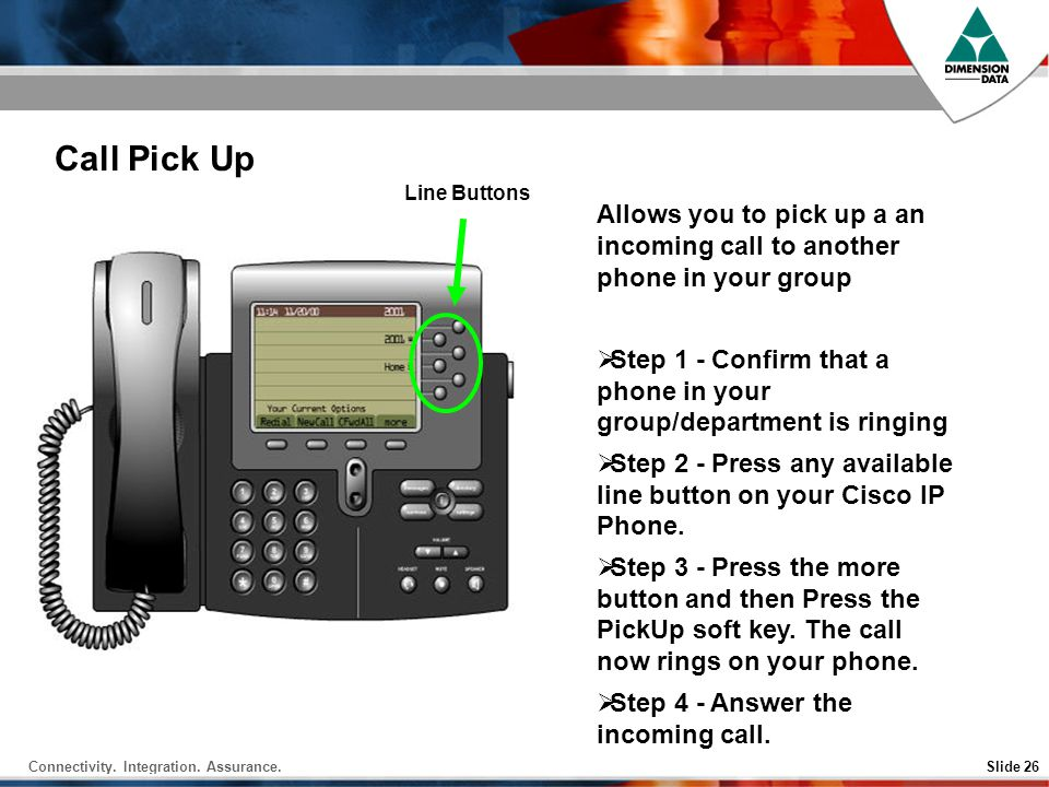 Call Pick Up Line Buttons. Allows you to pick up a an incoming call to another phone in your group.