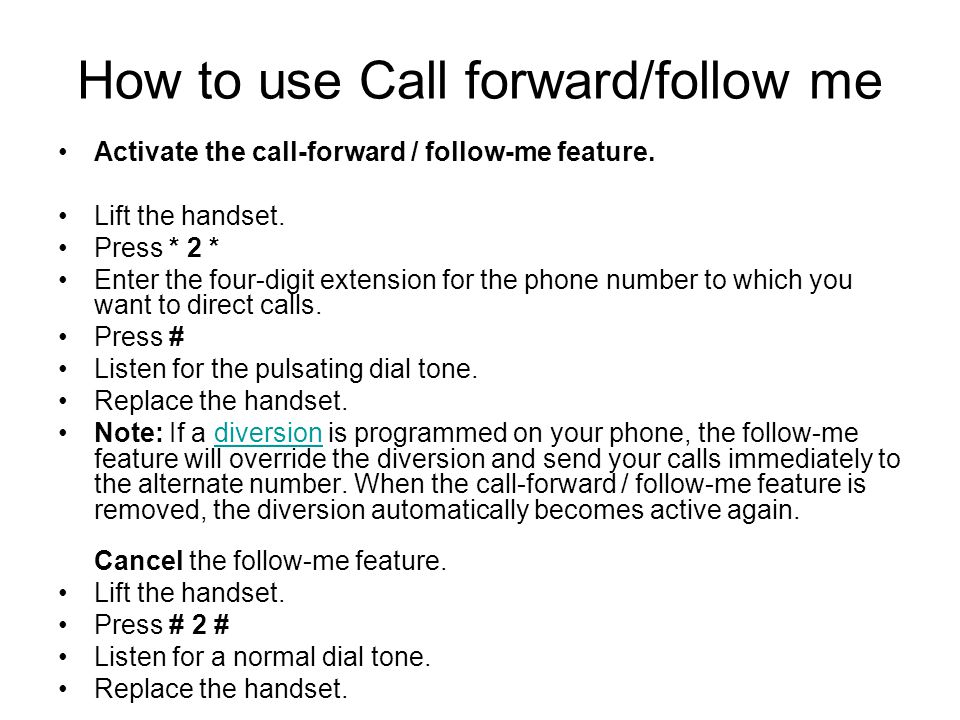How to use Call forward/follow me