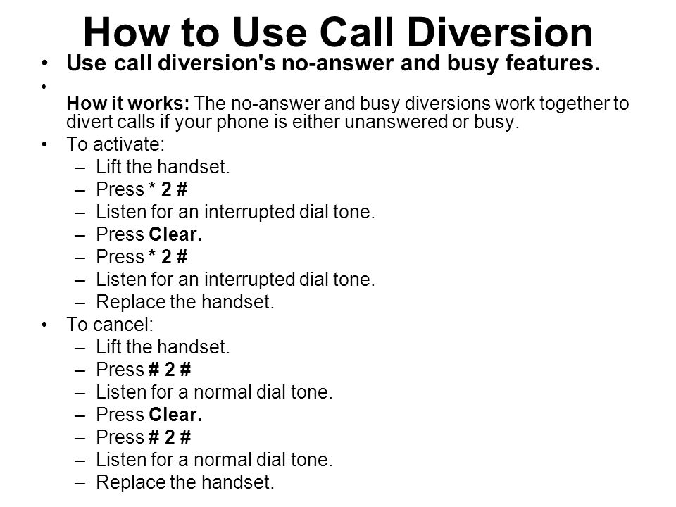 How to Use Call Diversion