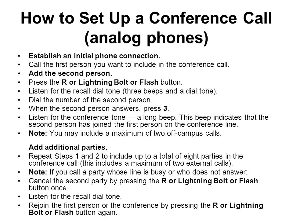 How to Set Up a Conference Call (analog phones)