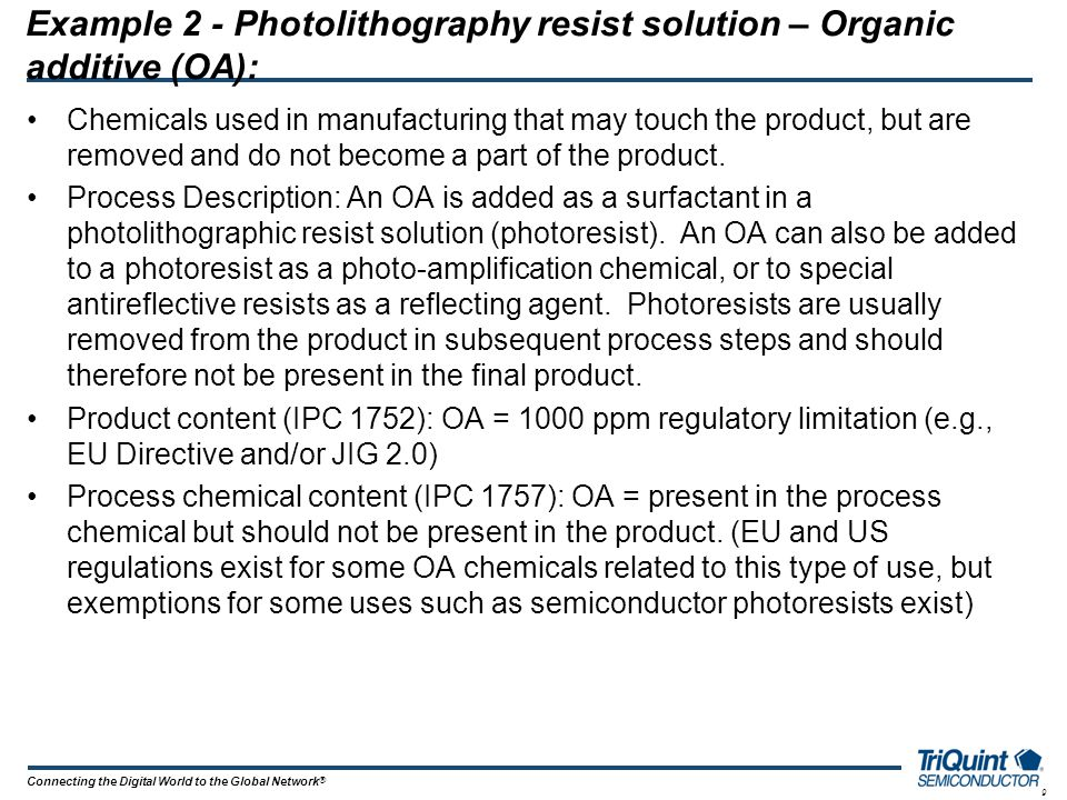 Example 2 - Photolithography resist solution – Organic additive (OA):
