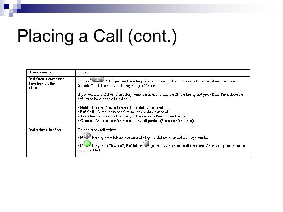 Placing a Call (cont.)
