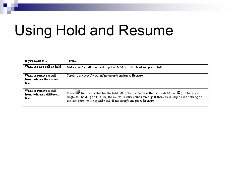 Using Hold and Resume