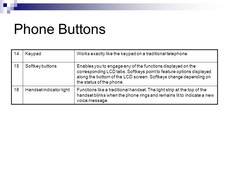 Phone Buttons 14. Keypad. Works exactly like the keypad on a traditional telephone. 15. Softkey buttons.