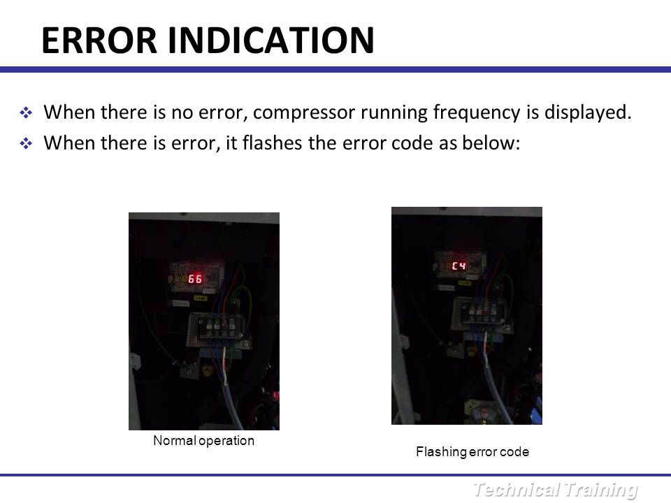 ERROR INDICATION When there is no error, compressor running frequency is displayed. When there is error, it flashes the error code as below: