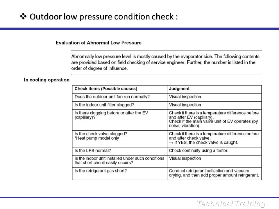 Outdoor low pressure condition check :