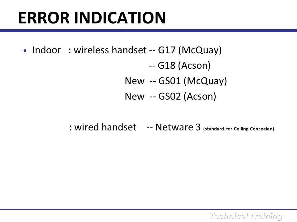 ERROR INDICATION Indoor : wireless handset -- G17 (McQuay)