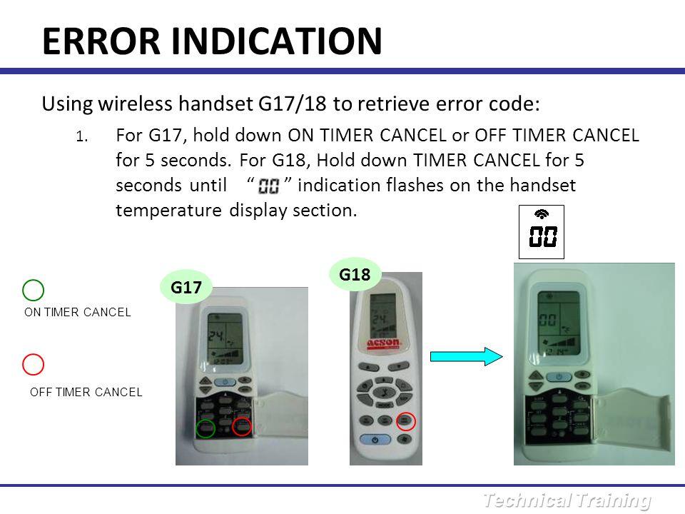 ERROR INDICATION Using wireless handset G17/18 to retrieve error code: