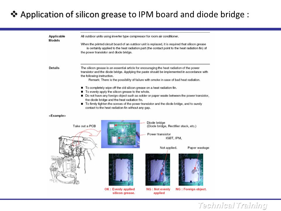 Application of silicon grease to IPM board and diode bridge :
