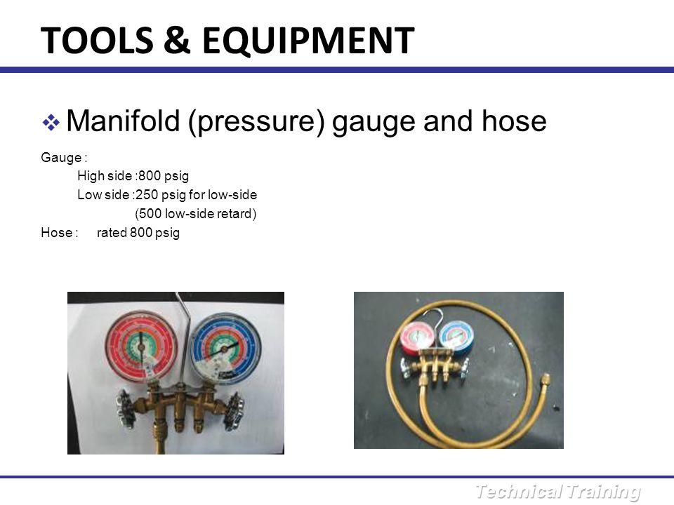 TOOLS & EQUIPMENT Manifold (pressure) gauge and hose Gauge :