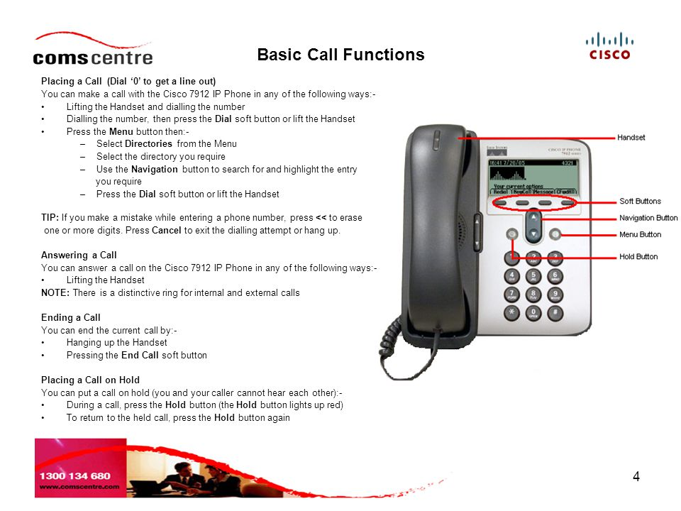 Basic Call Functions Placing a Call (Dial '0' to get a line out)