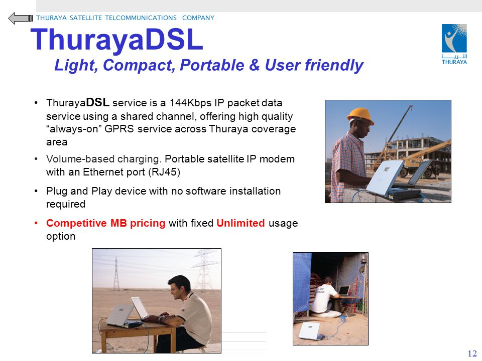ThurayaDSL Light, Compact, Portable & User friendly