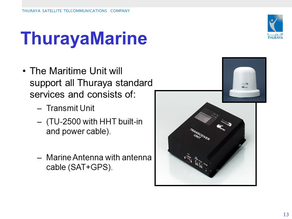 ThurayaMarine The Maritime Unit will support all Thuraya standard services and consists of: Transmit Unit.