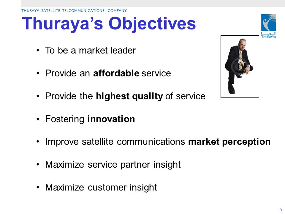 Thuraya's Objectives To be a market leader