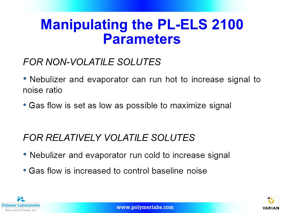Manipulating the PL-ELS 2100 Parameters