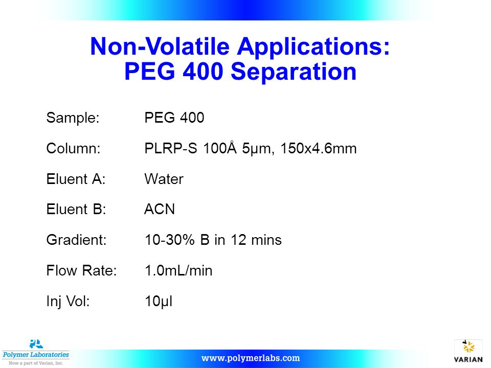 Non-Volatile Applications: PEG 400 Separation