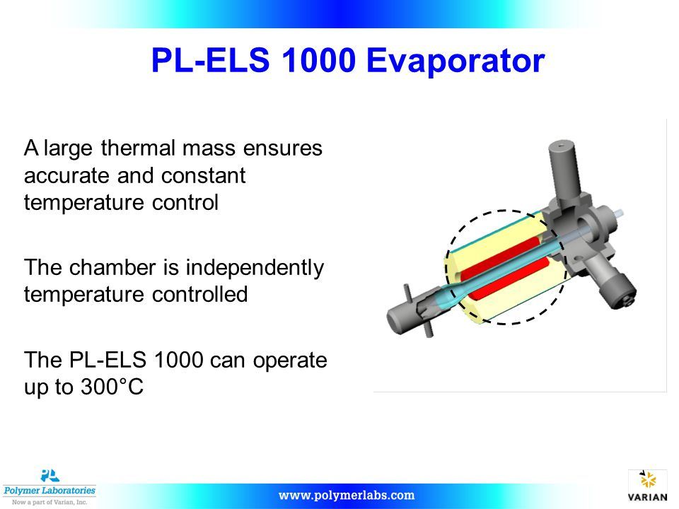 PL-ELS 1000 Evaporator A large thermal mass ensures accurate and constant temperature control. The chamber is independently temperature controlled.