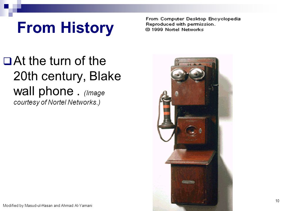 From History At the turn of the 20th century, Blake wall phone .