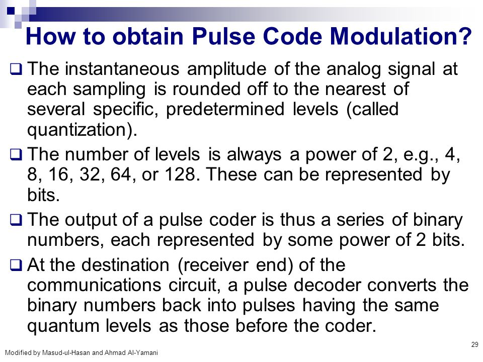 How to obtain Pulse Code Modulation