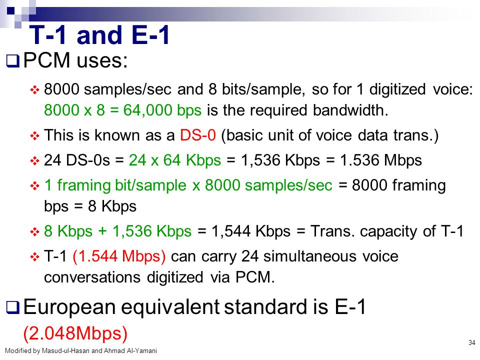 T-1 and E-1 PCM uses: European equivalent standard is E-1 (2.048Mbps)