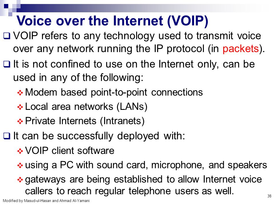 Voice over the Internet (VOIP)