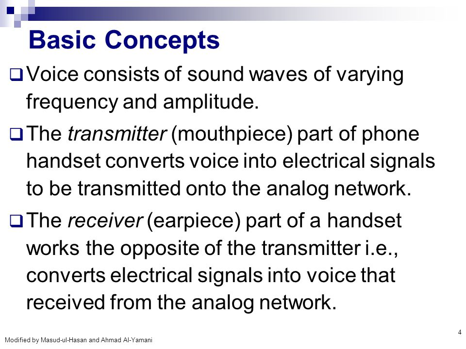 Basic Concepts Voice consists of sound waves of varying frequency and amplitude.