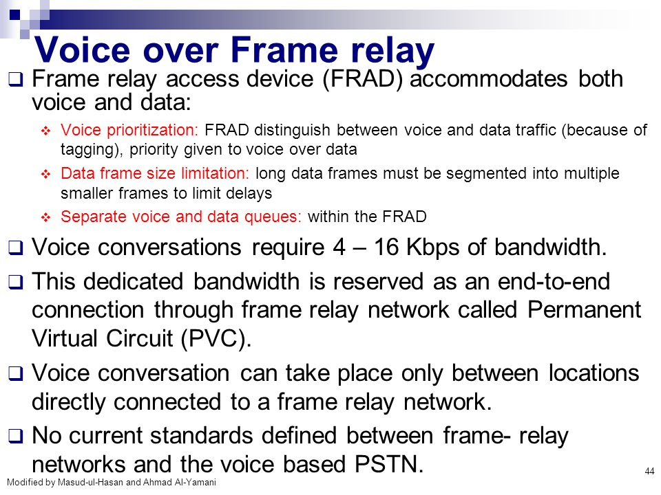 Voice over Frame relay Frame relay access device (FRAD) accommodates both voice and data: