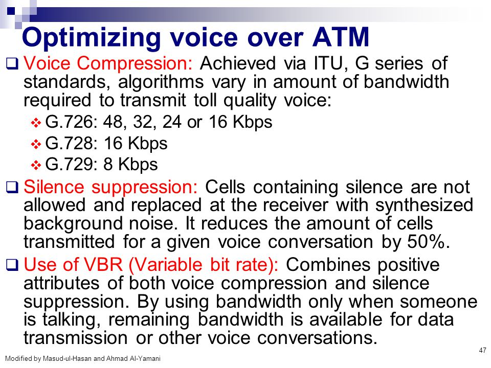 Optimizing voice over ATM