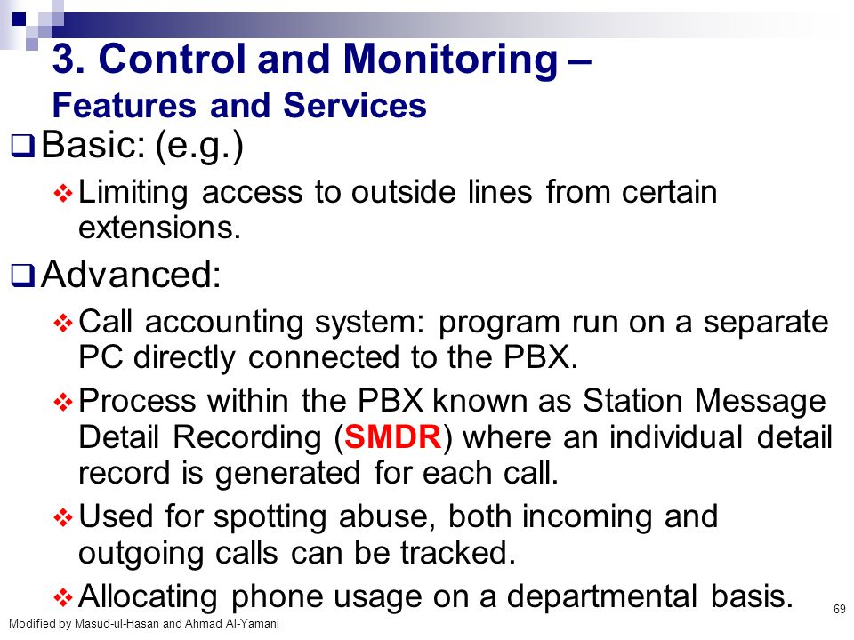 3. Control and Monitoring – Features and Services