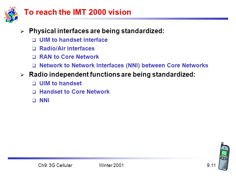 To reach the IMT 2000 vision Physical interfaces are being standardized: UIM to handset interface.