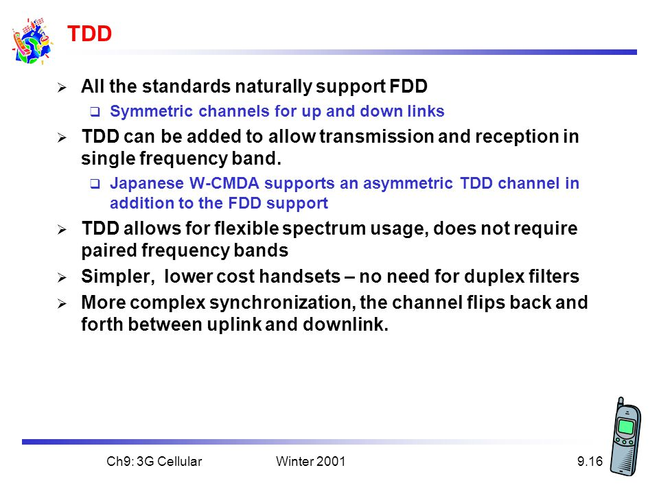 TDD All the standards naturally support FDD