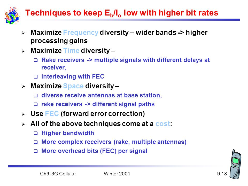 Techniques to keep Eb/Io low with higher bit rates