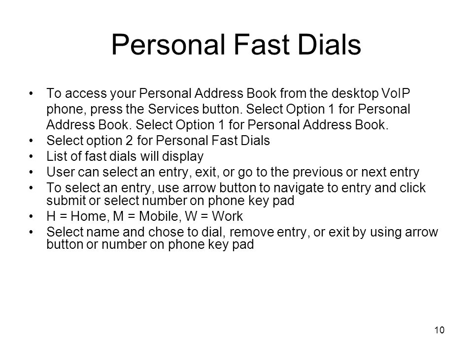 Personal Fast Dials