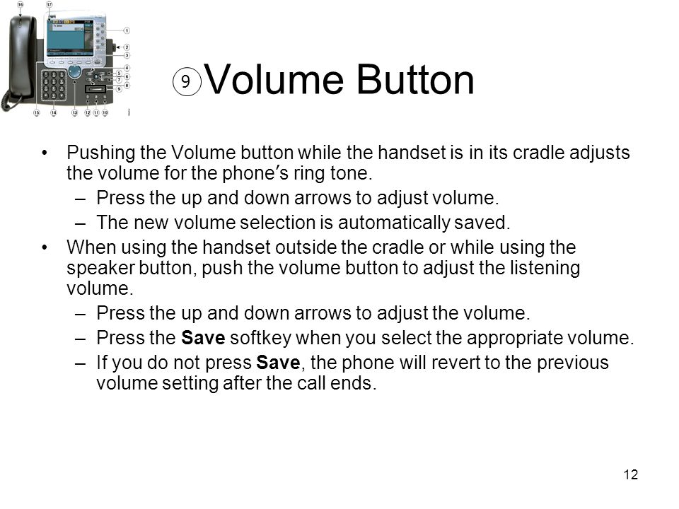Volume Button 9. Pushing the Volume button while the handset is in its cradle adjusts the volume for the phone's ring tone.