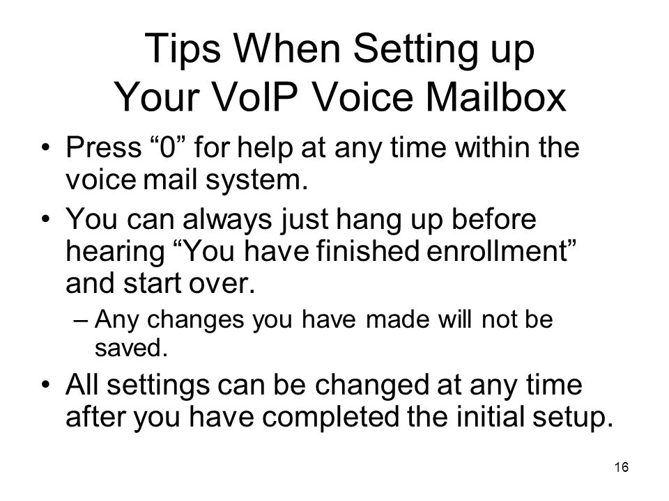 Tips When Setting up Your VoIP Voice Mailbox