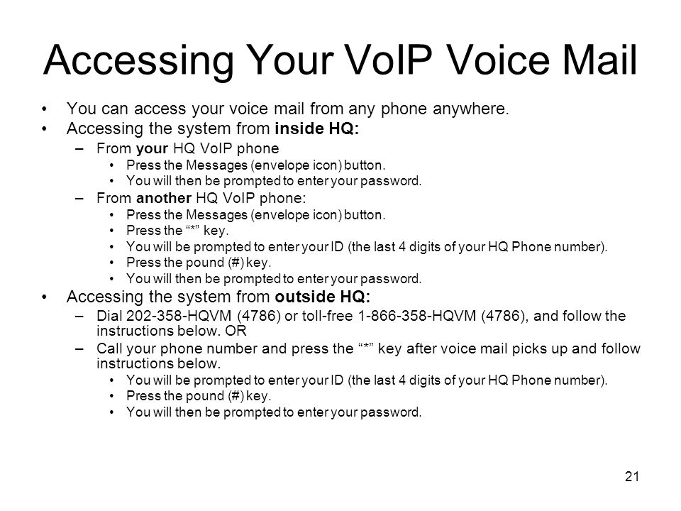 Accessing Your VoIP Voice Mail