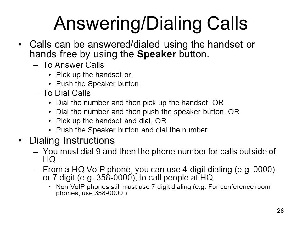 Answering/Dialing Calls