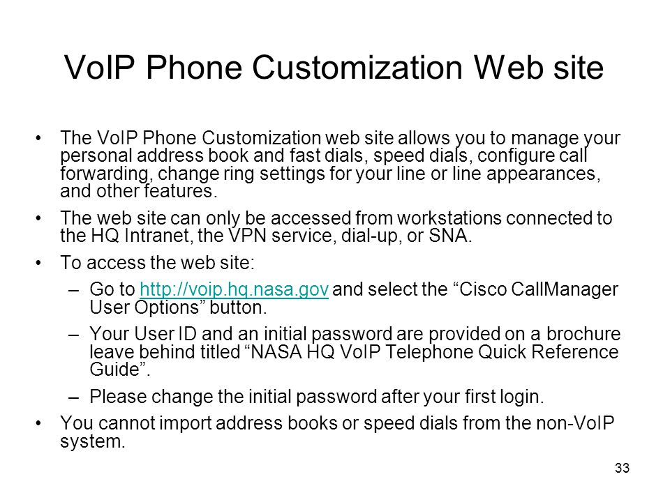 VoIP Phone Customization Web site