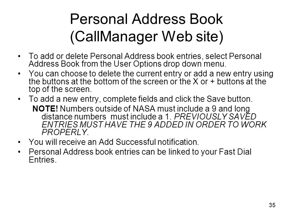 Personal Address Book (CallManager Web site)