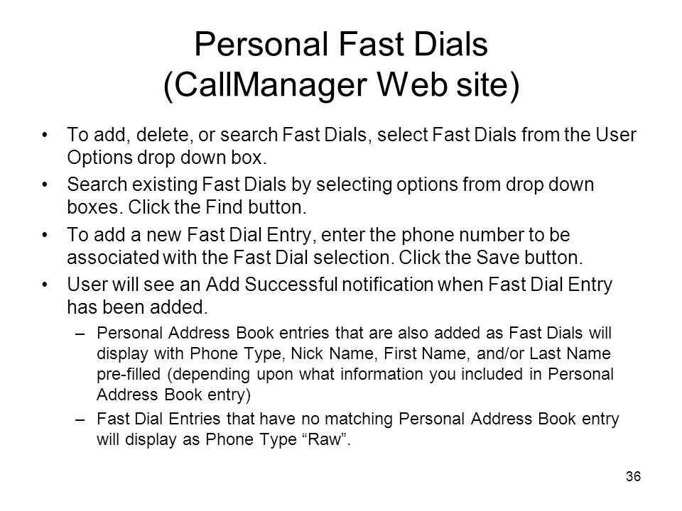 Personal Fast Dials (CallManager Web site)