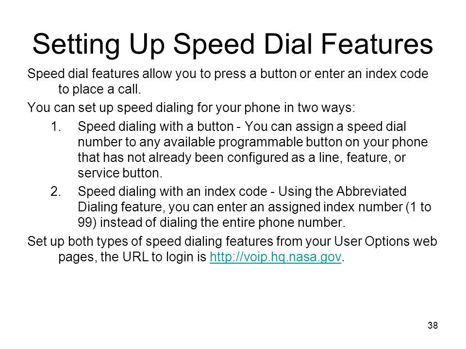 Setting Up Speed Dial Features