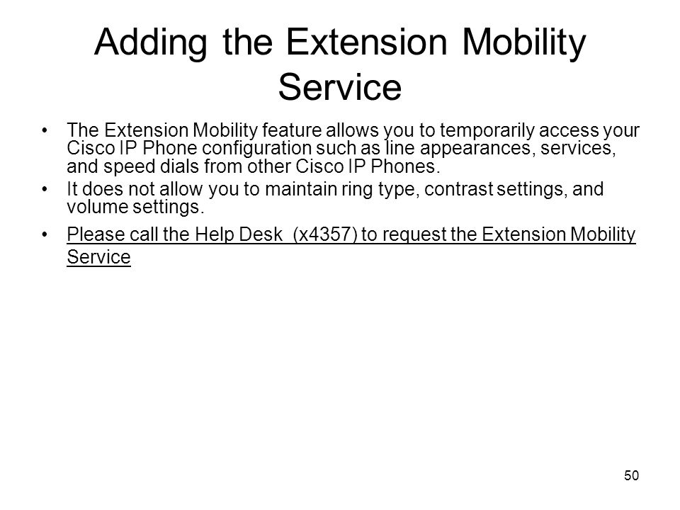 Adding the Extension Mobility Service