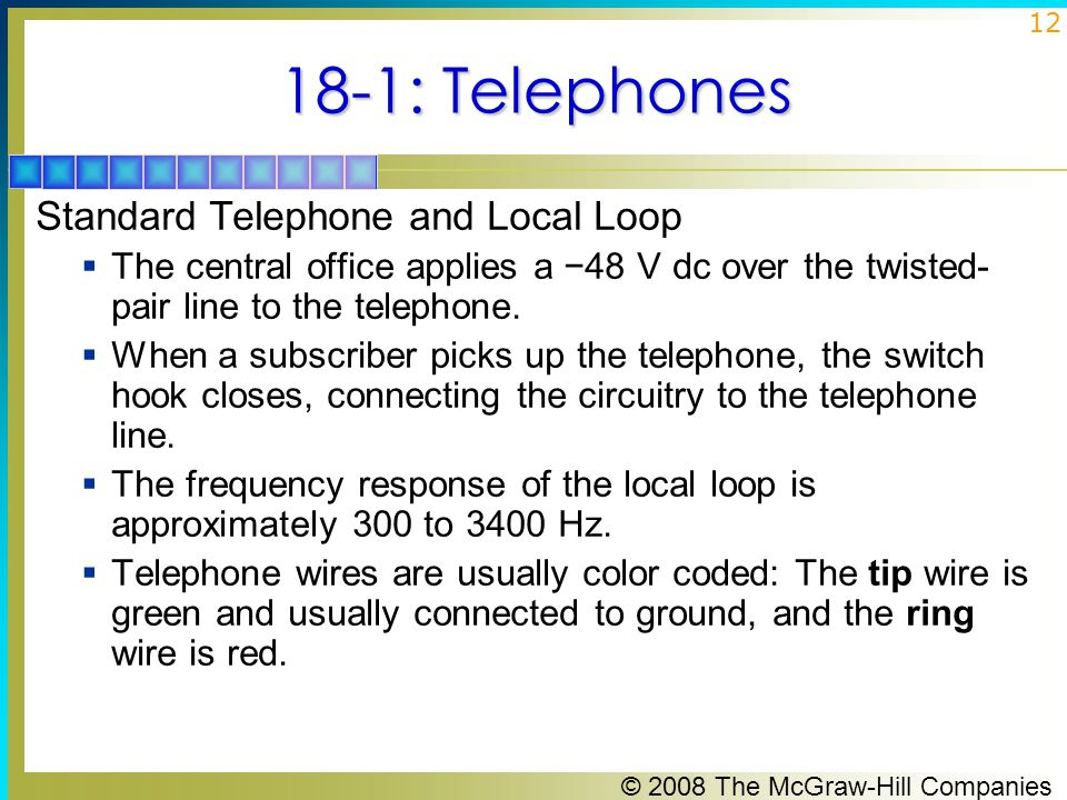 18-1: Telephones Standard Telephone and Local Loop