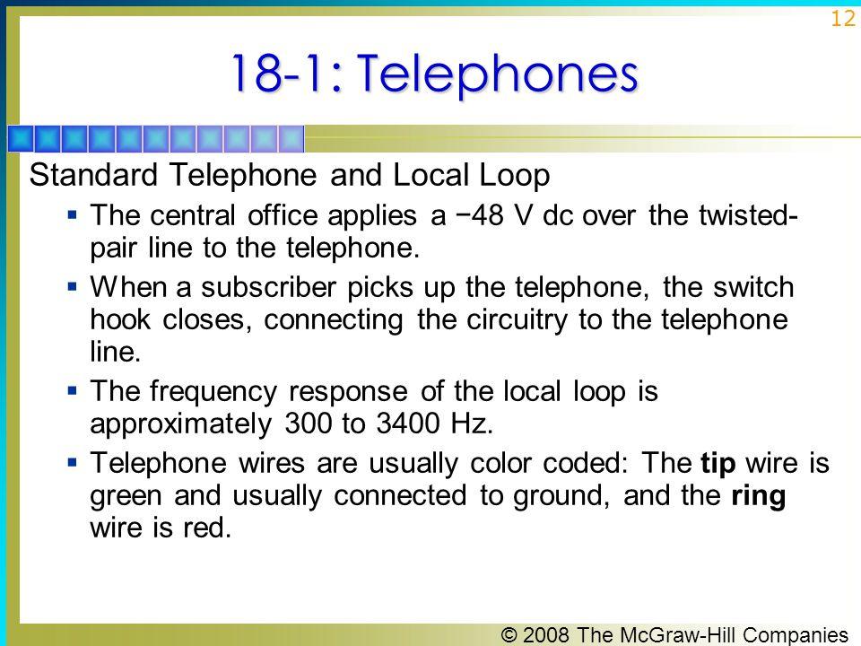 18-1: Telephones Standard Telephone and Local Loop