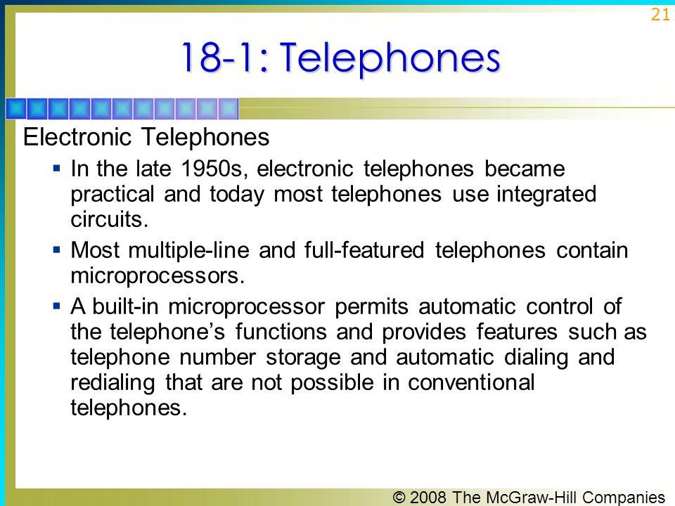 18-1: Telephones Electronic Telephones