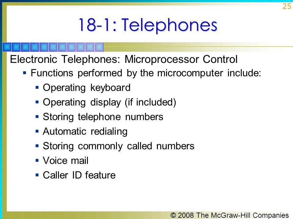18-1: Telephones Electronic Telephones: Microprocessor Control