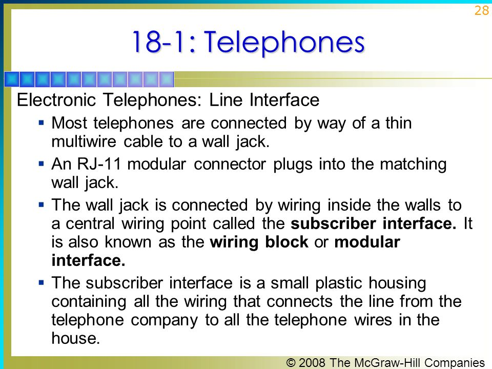 18-1: Telephones Electronic Telephones: Line Interface